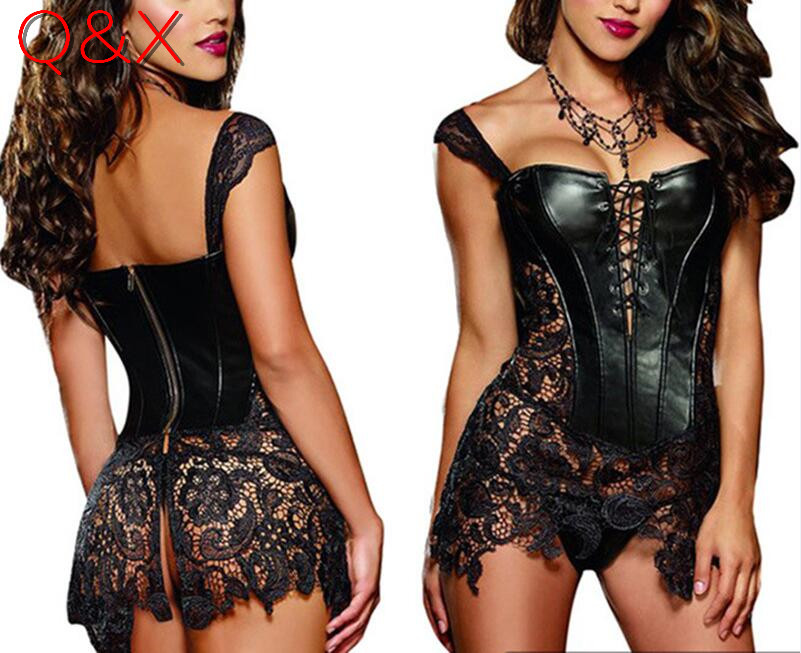D1 2017 S-6XL Plus Size Sexy Lingerie Women Black Faux Կաշի և ժանյակ Burlesque Steampunk կորսետ զգեստ Gothic Bustier Corset