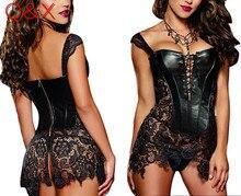 D1 2017 S-6XL Plus Size Sexy Lingerie Women Black Faux Leather and Lace Burlesque Steampunk Corset Dress Gothic Bustier Corset