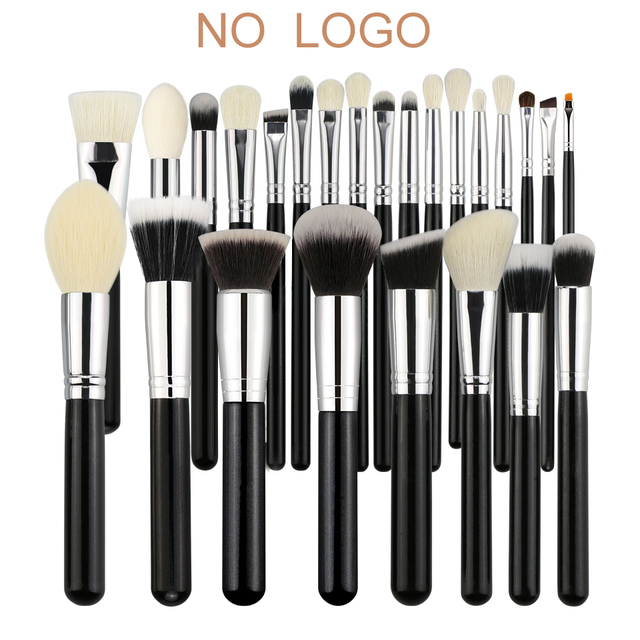 BEILI Black Professional NO Logo Goat hair brush Powder Foundation Contour Concealer  Eyes Blending 25 pcs Makeup Brush set