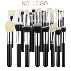 Image 1 - BEILI Black профессиональная кисть из козьего волоса без логотипа, пудра, контурный консилер, растушевка глаз, 25 шт., набор кистей для макияжа