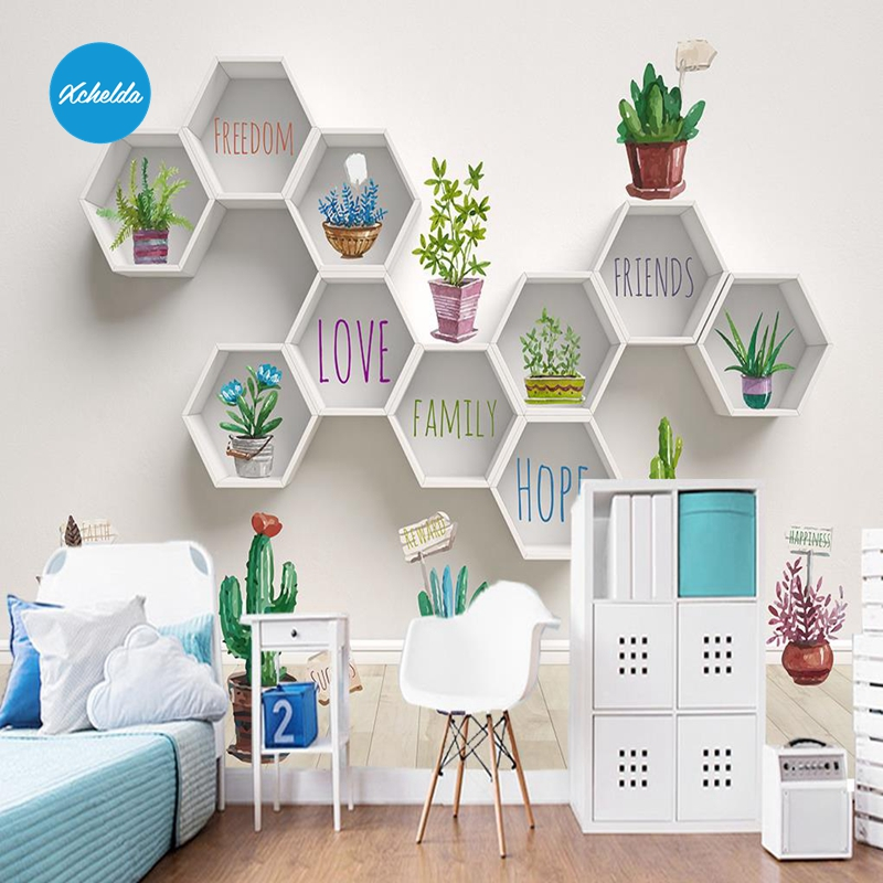 XCHELDA Custom 3D Wallpaper Design Wall Potted Photo Kitchen Bedroom Living Room Wall Murals Papel De Parede Para Quarto kalameng custom 3d wallpaper design street flower photo kitchen bedroom living room wall murals papel de parede para quarto