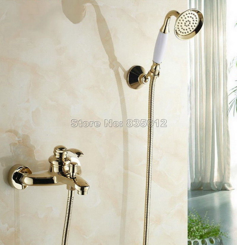 цена на Gold Color Brass Bathroom Bathtub Shower Faucet Set Single Handle Mixer Tap with Wall Mounted Ceramic Hand Held Shower Wtf402