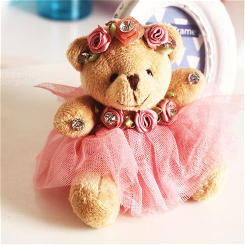 12pcs lot 10cm Mini Teddy Bear Wedding Dress Plush Doll Cartoon Soft Plush Toys Stuffed Animal