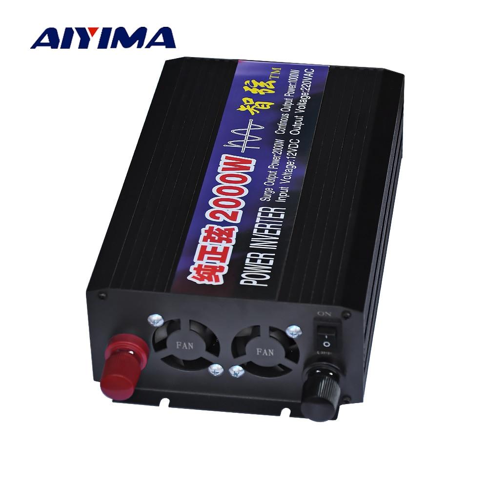 Aiyima 2000W Pure Sine Wave Car Power Inverter DC12V 24V 48V To AC220V Double Digital Display