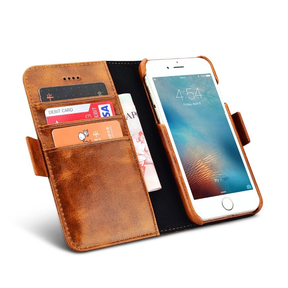 a151a18dc الرجعية الشمع ICARER الأعمال قسط جلد طبيعي 2 في 1 المغناطيسي الخلفي حافظة  للبطاقات فتحة ل iPhone7 فليب خمر ل iPhone8