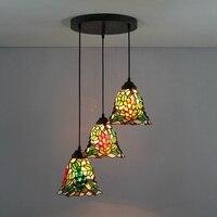 American Garden Grape 3 Heads Stained Glass Western Style Restaurant Pendant Lights 110 240V Dia43CM Bar