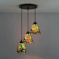 American Garden Grape 3 Heads Stained Glass Western Style Restaurant Pendant Lights 110 240V Dia43CM Bar