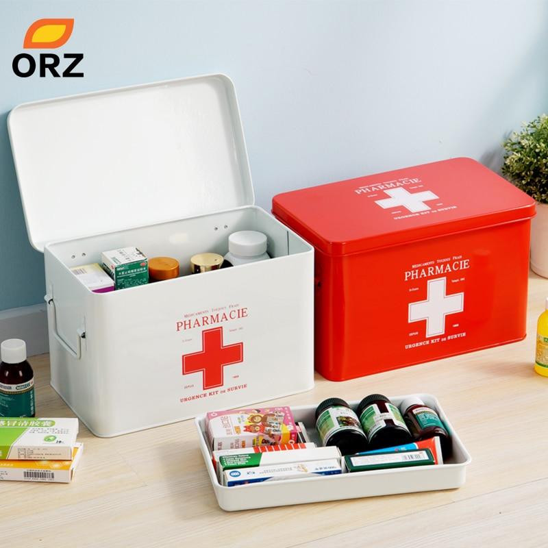 Multi-layered Family Medicine Metal Medical Box First Aid Storage Gathering