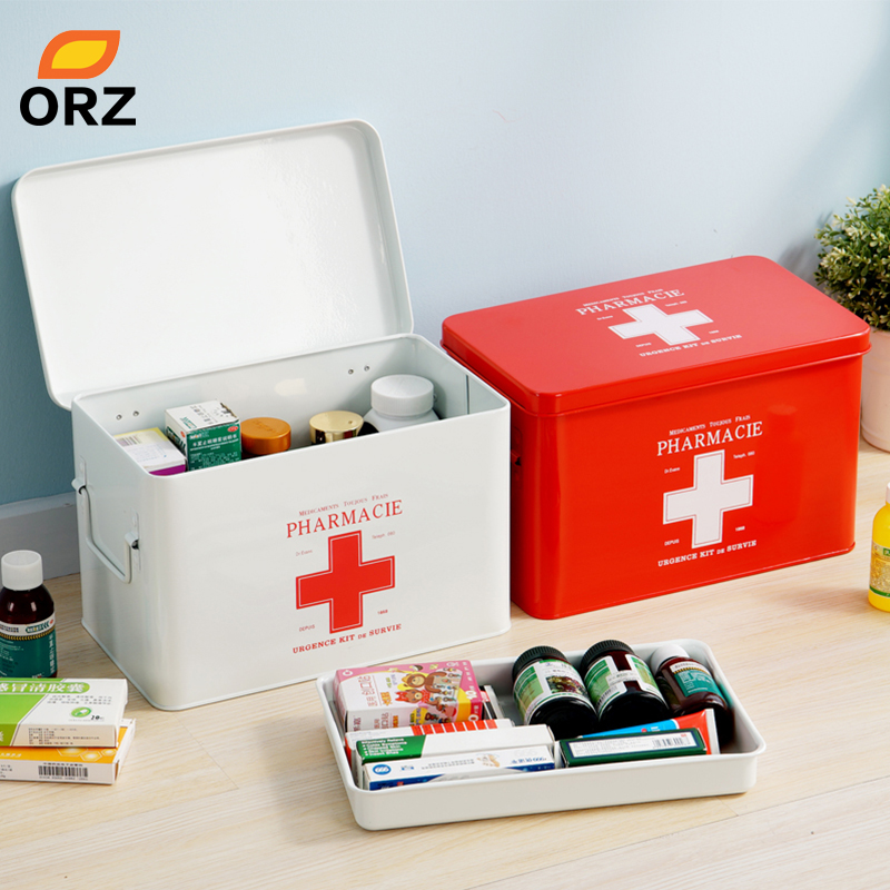 ORZ multi-couches médecine familiale métal boîte médicale médical premiers secours boîte de rangement stockage médical rassemblement