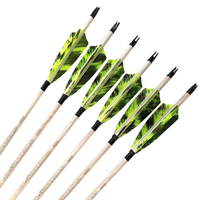 Inals Spine 400 500 600 Carbon Arrows ID6.2mm 4 Turkey Feathers 100gr Points Compound Recurve Bow Hunting Archery 12PCS