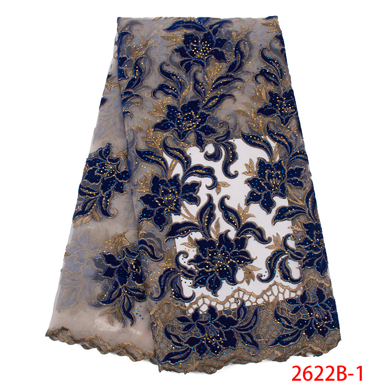 African Lace Fabric French Lace Fabric Embroidery Tulle Lace With Stones  Nigerian Lace Fabric For Women Dress KS2622B-1