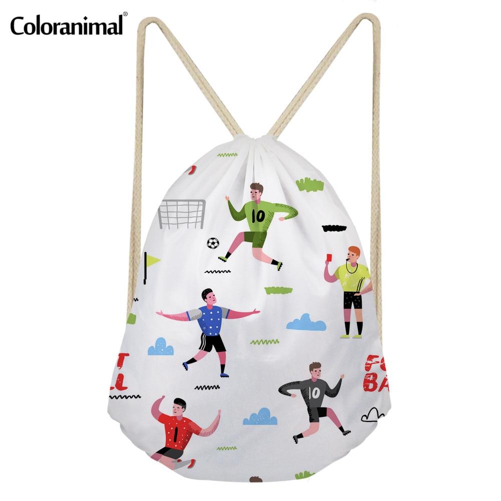 Coloranimal Fire Football Soccer Ball Drawstring Bag For Men Gym Run 3D Print Men Backpack Comfort Casual Sack Cinch SmalL Backs