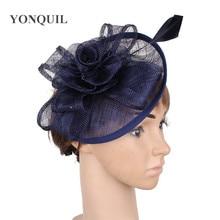 Винтажная темно-синяя Клубная Кепка sinamay, головной убор, свадебные аксессуары, верхняя часть с перистым рисунком, качество MYQ028