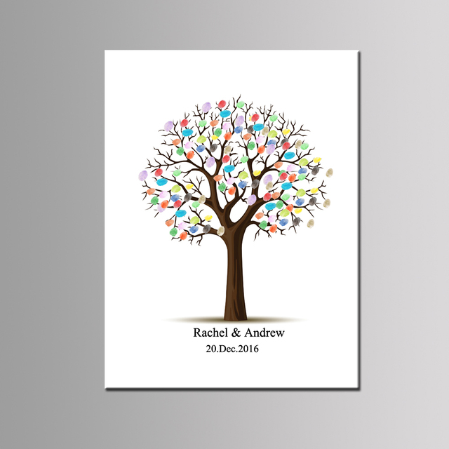 Personalize Thumbprint Guest Book Love Tree Wedding Gift Baby Shower Birthday Keepsake Baptism 1st