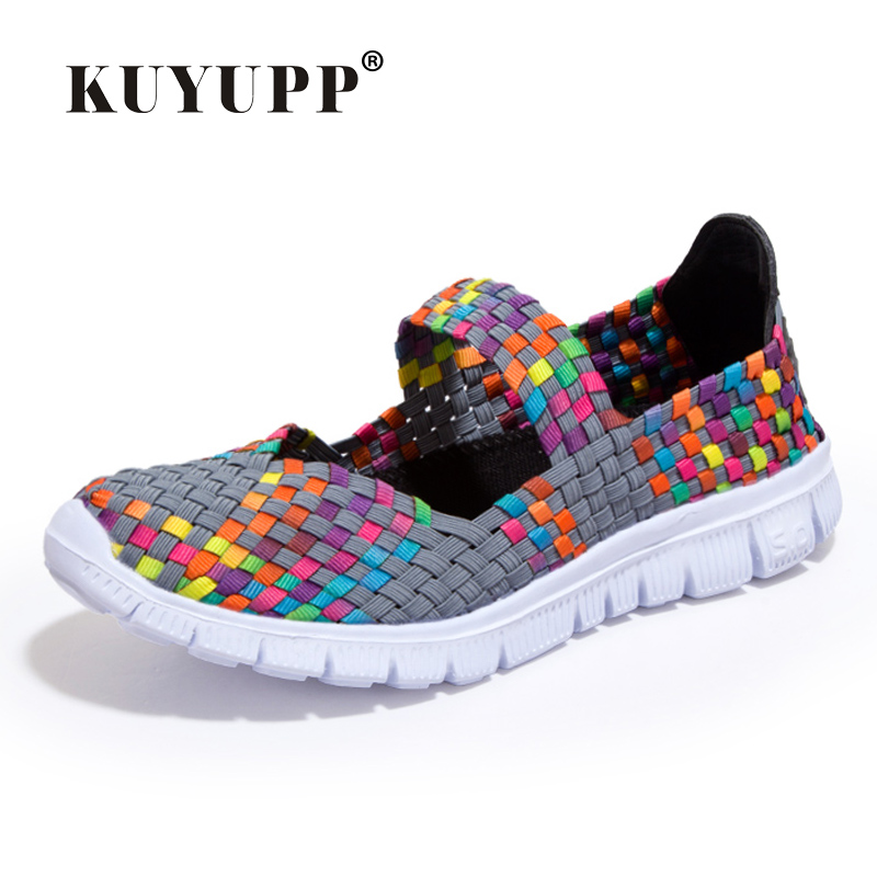 KUYUPP Fashion Cane Women Casual Shoes Summer Breathable Low Top Flat Ladies Shoes Slip On Zapatos Size 35-40 Espadrilles YD119 e lov women casual walking shoes graffiti aries horoscope canvas shoe low top flat oxford shoes for couples lovers
