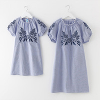 Summer Princess Striped Mother Daughter Dresses Cotton Flower Embroidery Mother Daughter Dresses Matching Mommy And Me Clothes