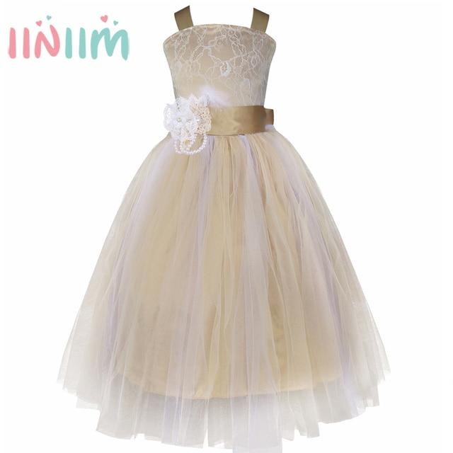 c801419c37938 Iiniim fille élégante pour les robes de fête de mariage robe de princesse  blanche longue Tulle