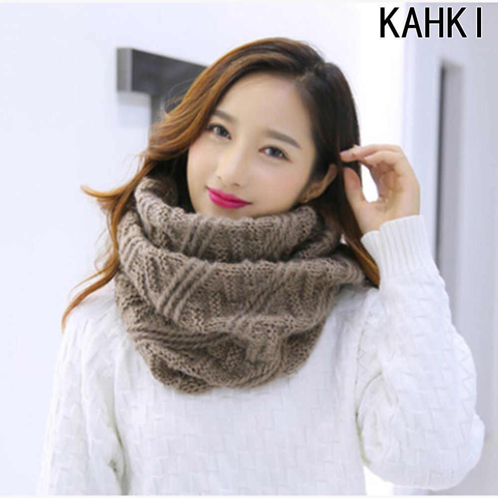e170daeb Bufanda de tubo para mujer invierno cálido bufandas de punto Collar ...