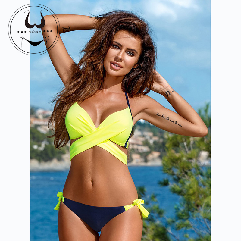 Buy 2018 Sexy Bikini Women Swimsuit Push Swimwear Criss Cross Bandage Halter Bikini Set Beach Bathing Suit Swim Wear XXL