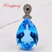 Xinyipeng18K платины инкрустированные Голубой топаз камень кулон для женщин с алмазной дизайн красивый