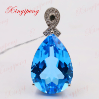 Xinyipeng18K platinum inlaid blue topaz stone pendant for women With diamond design is beautiful