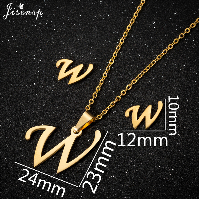 Jisensp Personalized A-Z Letter Alphabet Pendant Necklace Gold Chain Initial Necklaces Charms for Women Jewelry Dropshipping 46