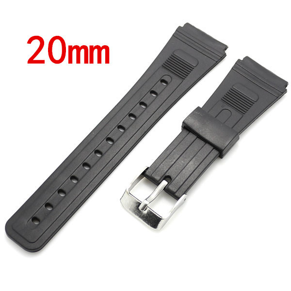 Black 20mm Band Width Rubber Wrist Watch Band Strap Stainless Steel Pin Buckle + 2 Spring Bars ned 65x65x20mm practical stainless steel corner brackets joint fastening right angle 2 5mm thickened bracket with screws