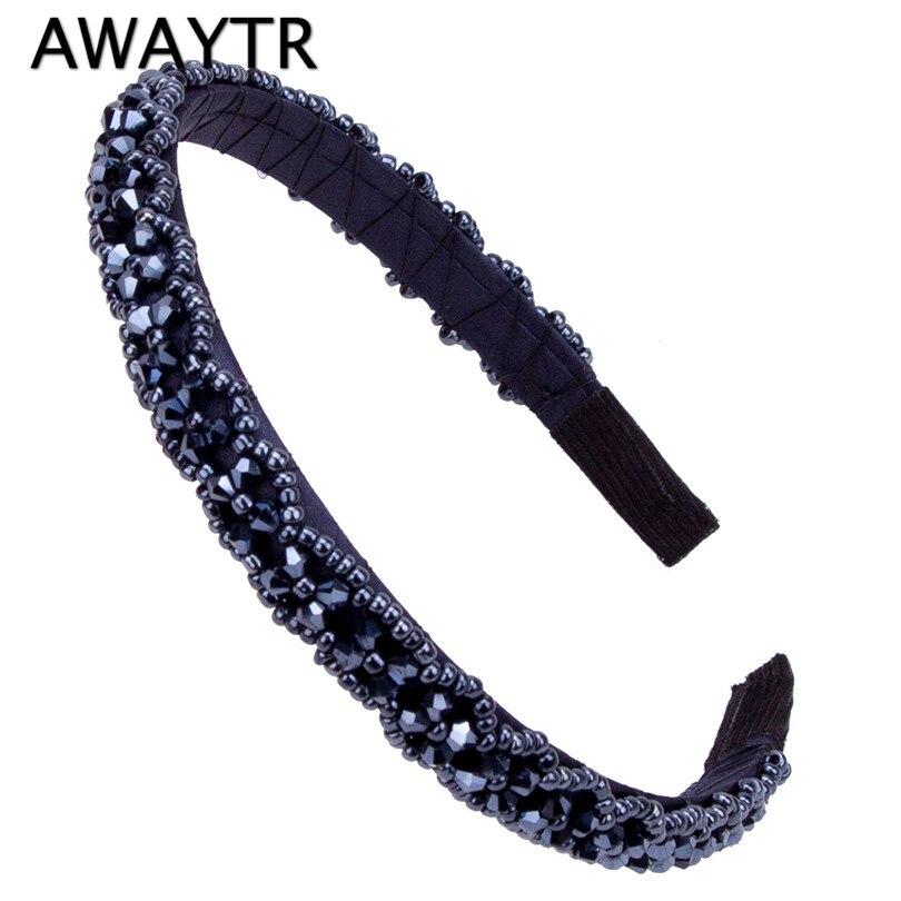 Headbands Children Hair Band 2017 New Girls Solid Color Navy Black Hair Beads Fashion Shining Women Hair Accessories Headwear