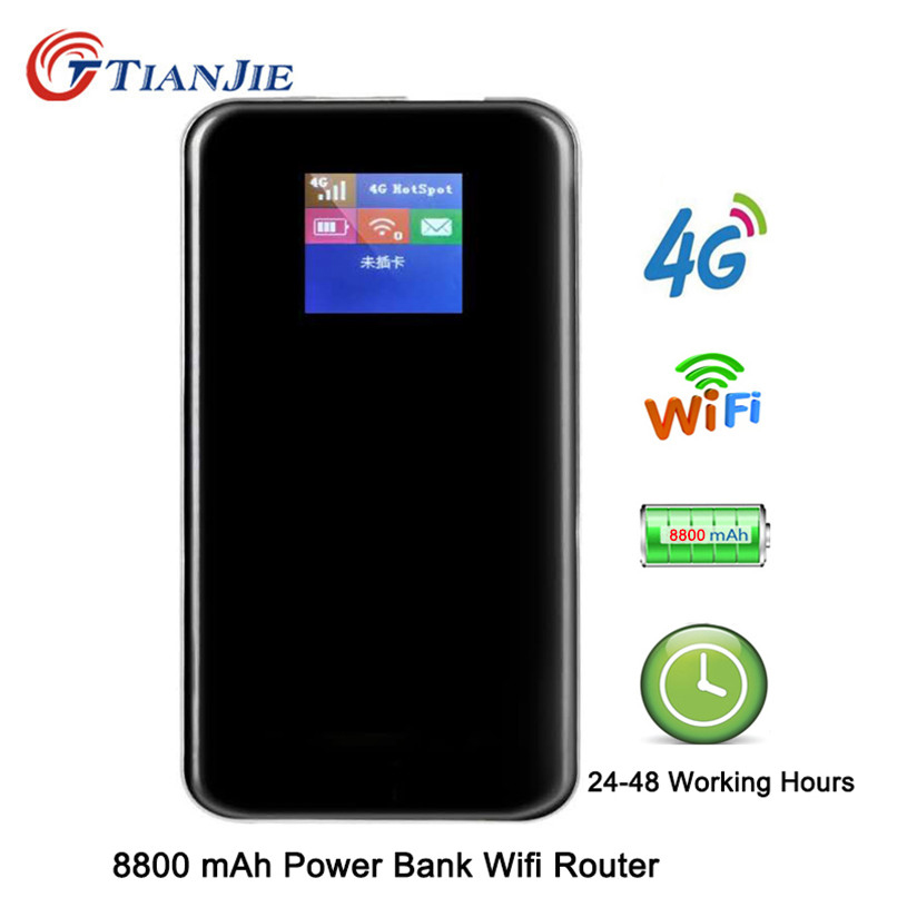TianJie 4G Router 8800mAh Battery Power Bank 150Mbps Mobile Hotspot Car Wi fi Router 4G LTE
