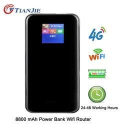 TianJie 4G Роутер 8800 мАч аккумулятор банк питания 150 Мбит/с Мобильная точка доступа Wi fi роутер 4G/LTE/Sim карта модем портативный широкополосный