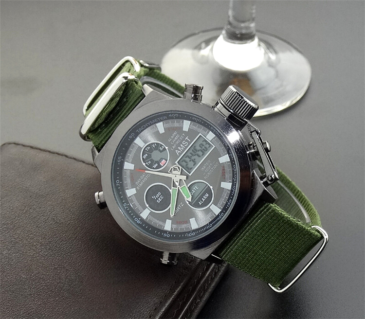 AMST Military Watches Dive 50M Nylon&Leather Strap LED Watches Men Top Brand Luxury Quartz Watch reloj hombre Relogio Masculino 13