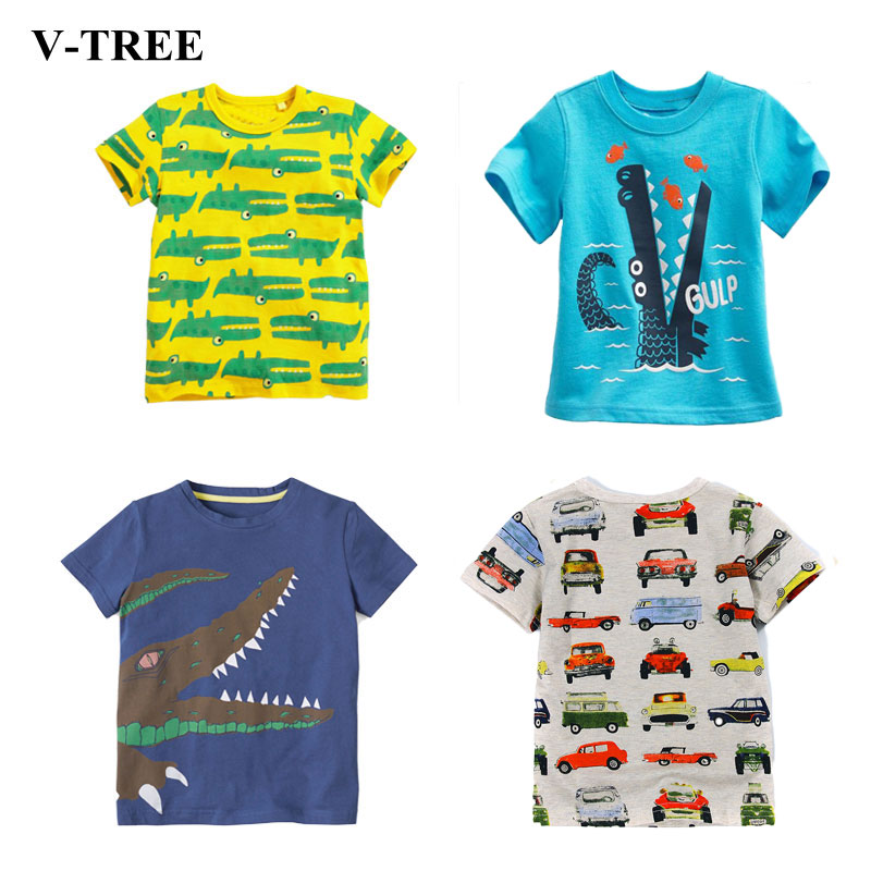 V-TREE Summer Boys Shirts Cotton Children T-shirts Colored Tops For Girls Short Sleeve Kids Blouse Toddler Tees Baby Clothing(China)