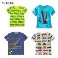 V-TREE niños de verano camisas de algodón niños camisetas de color de camisetas para niñas niños Blusa de manga corta de niño camisetas ropa de bebé