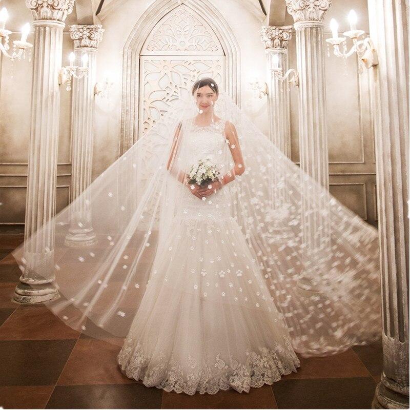 LAN Ting невесты одноуровневая свадебная фата собор покрывалами 53 аппликации Кружево тюль