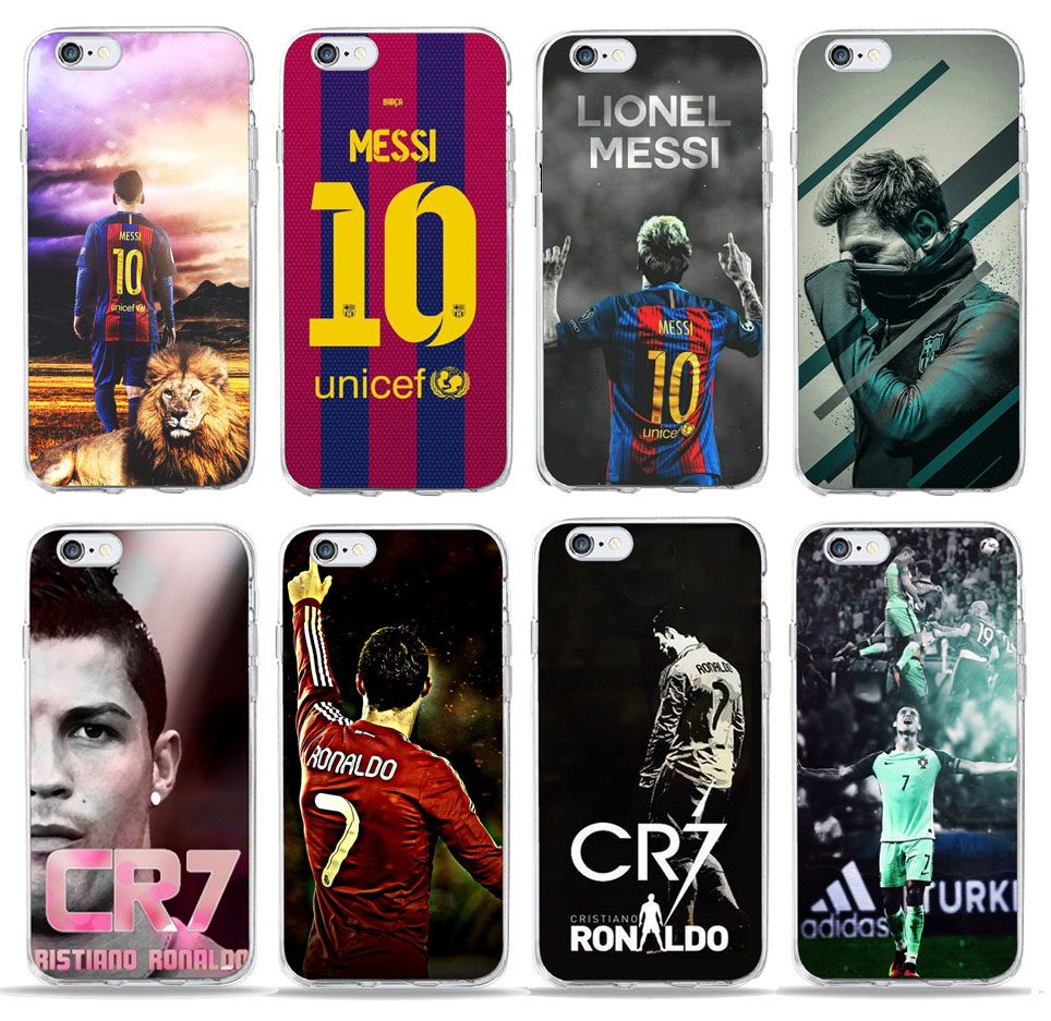 Football star Messi Ronaldo CR7 phone Case for iPhone 5 case 6 6 se 7 8 Plus X For Soccer Player No.10 No.7 Soft TPU Phone cover