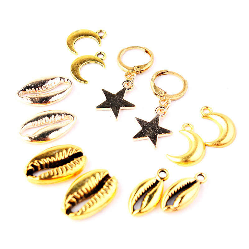 JCYMONG Boho металлическая звезда Лунная ракушка висячие серьги Модные Этнические золотые серебряный Цветной Круг Серьги для женщин ювелирные изделия Bijoux Femme