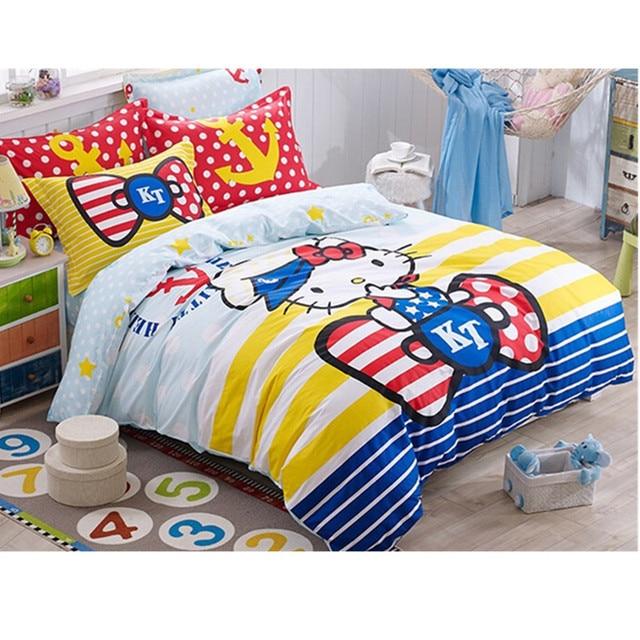 Hello Kitty Printed Bedding Set For Girls/Kids Kawaii Cat Duvet Cover/Bed  Sheet