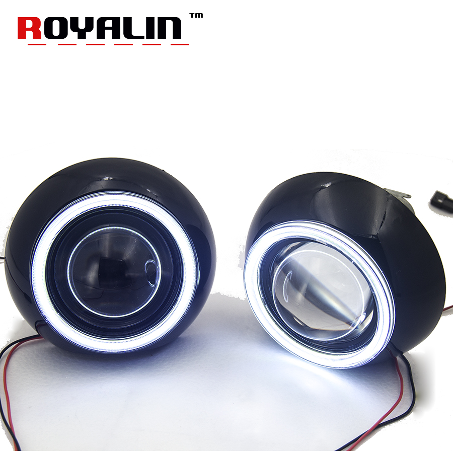 цена на ROYALIN 3.0 Metal Xenon Lens for Iris Shroud w/ LED COB Angel eyes Demon Eyes LHD RHD BI-Xenon HID Projetor Car Styling H4 H7 H1