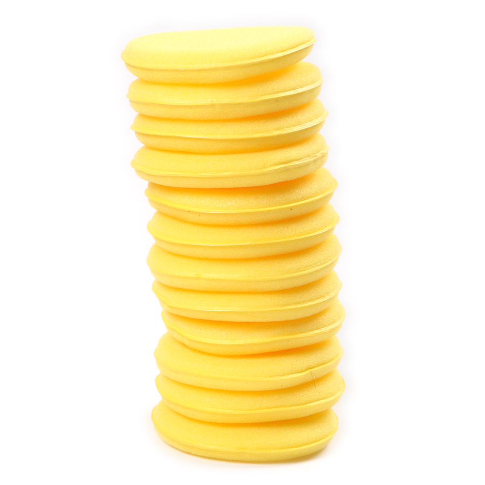 Professional 12Pcs/Set Diameter 10cm Sanding Sponge Yellow Round Shape Puff Polishing Abrasive Tool For Car Waxing Polishing
