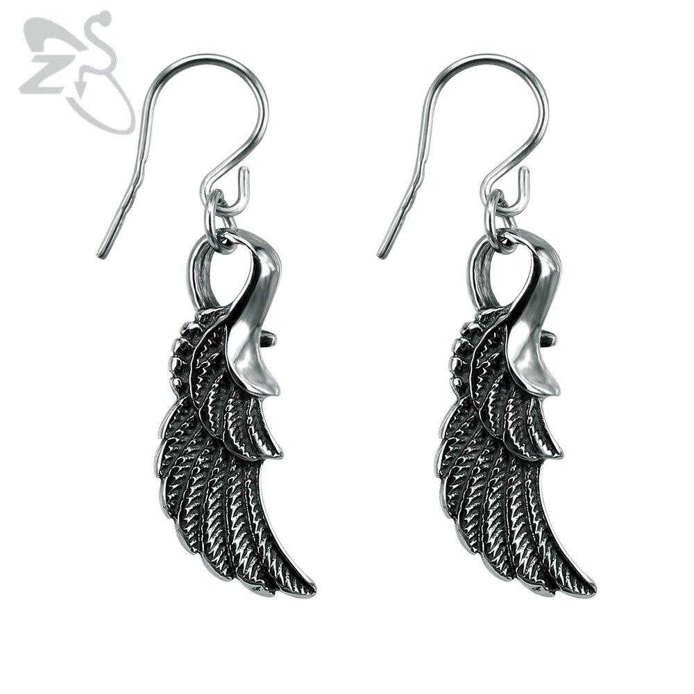 ZS Wings-pendientes largos de gota Punk 316L, joyería de acero inoxidable, pendiente colgante, Piercing para orejas de cartílago, joyería para hombre y mujer