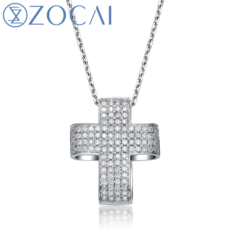 choker CROSS 0.60 ct genuine diamond118K white gold pendant with 925 silver chain necklace D00900