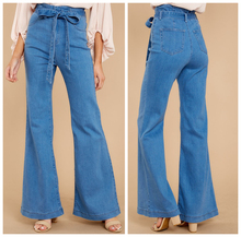 Womens High Waist Wide Leg Jeans Straight Boot Cut Bow Belt Flared Denim Pants Maxi Plus Size Loose Female Bell-Bottom Trousers все цены