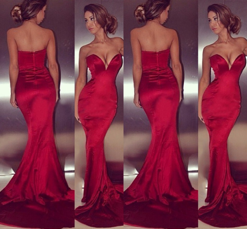 hot red mermaid evening gowns slim long sexy party dresses