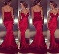 Hot Red sereia vestidos De noite Slim Sexy vestidos De Festa vestidos De tafetá fora do ombro Vestido De Festa