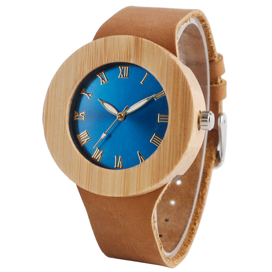 Creative Bamboo Blue Green Wooden Watch Dial Genuine Leather Casual Lovers Women Roman Number Quartz Wristwatch Relojes