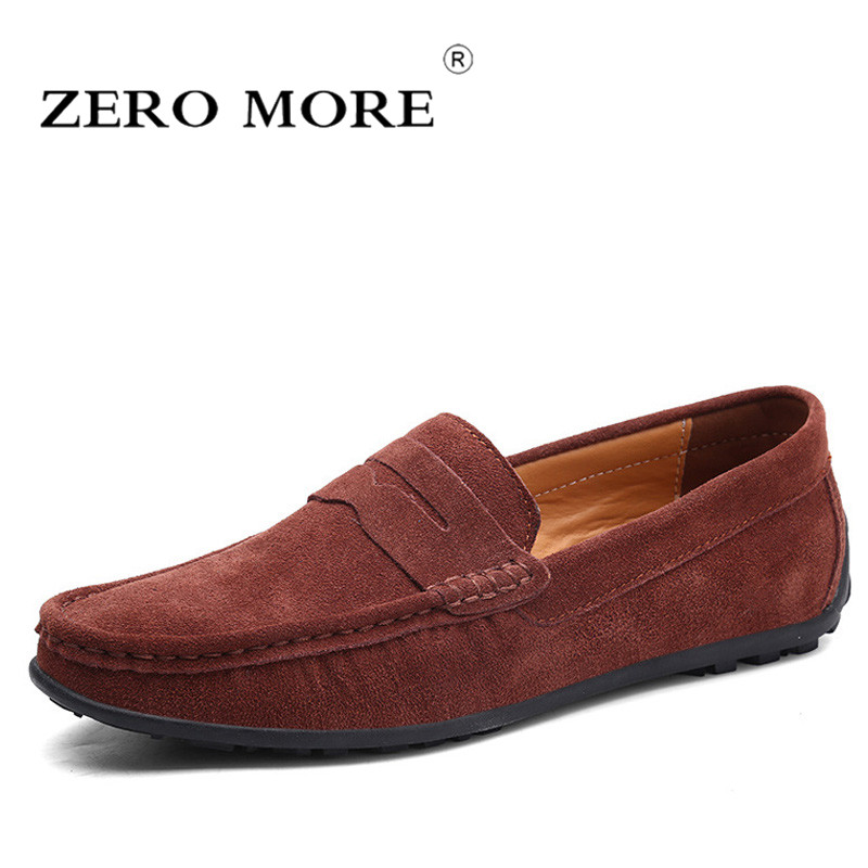 ZERO MORE Mens Shoes Casual Penny Loafers Large Sizes Slip On Soft Shoes Men Black Big Suede Moccasins Driving Solid Breathable