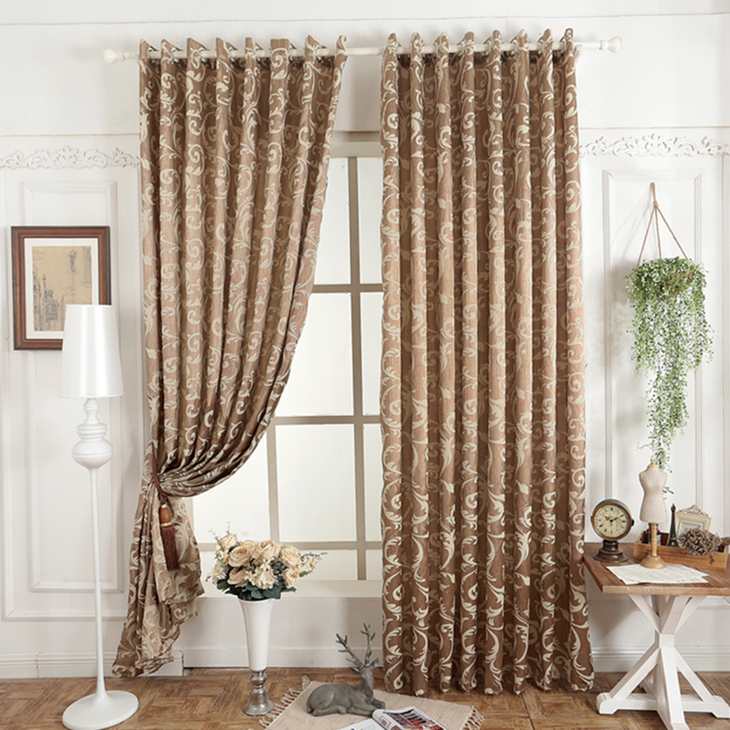 Free shipping jacquard 3d curtain for living room simple for Simple living room designs 2018