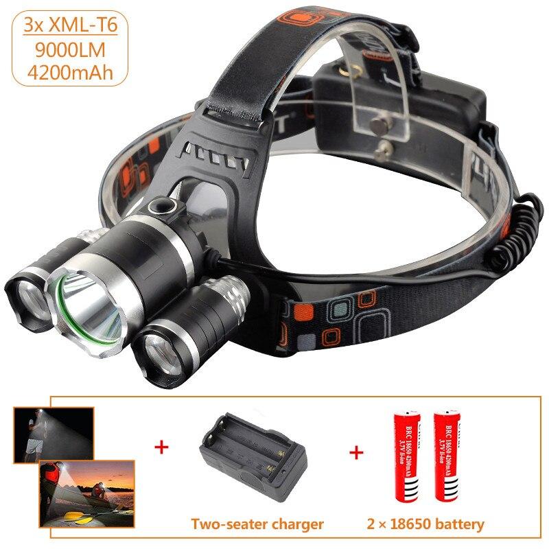 USA EU Hot 3T6 headlamp 3x XM L T6 LED Headlight 9000 Lumen Head Lamp Flashlight Torch Lanterna led Headlamp 90 degree night in Headlamps from Lights Lighting
