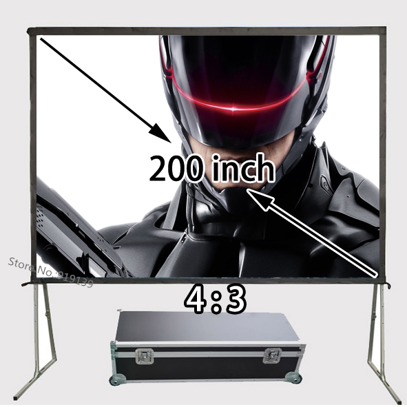 Professional Manufacturer HD Projector Projection Screen 200 inch 4:3 Fast Folding 1080P Screens With Portable Aluminum Case fast free shipping 100 4 3 tripod portable projection screen hd floor stand bracket projector screen matt white factory supply