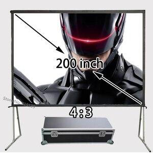Профессиональный Производитель HD проектор проекционный экран 200 дюймов 4:3 быстро складывающиеся 1080P экраны с портативным алюминиевым чехло...